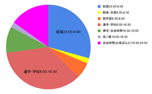 1日の平均的なスケジュールの円グラフ